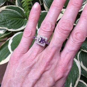 Jewelry - 💥SALE! Amethyst, CZ & silver princess cut ring